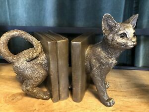 Cat Bookends Bronze finish Cat Resin Heavy Bookend Decoration Gift