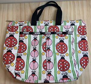 "LeSportsac Nylon Lunch Tote Bag Travel Insulated 14"" x 10"" White Ladybug Print"
