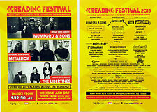 READING FESTIVAL 2015 FLYERS METALLICA  MUMFORD & SONS THE LIBERTINES