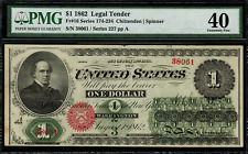 1862 $1 Legal Tender FR-16 - Graded PMG 40 - Extremely Fine