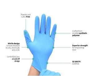 Nitrile Glove Powder/Latex Free Transparent Gloves Food Strength UK Hygiene Blue