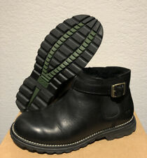 UGG sz 8 Ankle Boots Buckle Strap 5347 BLACK Leather Sheepskin Pull On