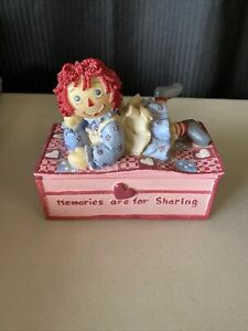 Raggedy Ann Andy Music Box, Toy land Tune Rare Pink Popular Imports Inc.