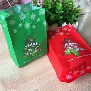 50 x Christmas Cellophane Bags Party Cello Cookie Sweet Candy Biscuit Gift Bags