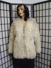 ~MINT NATURAL CURLY LAMB SHEEP FUR JACKET COAT WOMEN WOMAN SIZE 4 PETITE