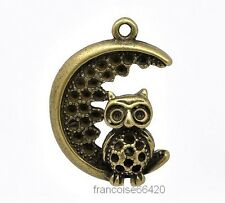 PENDENTIF BRELOQUE CHARM / HIBOU CHOUETTE 28x20mm / CREATION BIJOU COLLIER #B658