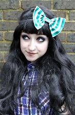 GREEN STRIPE BIG BOW HAIR FOREHEAD HEAD BAND HIPSTER INDIE GRUNGE FESTIVAL