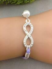 Bracelet strass violet avec perle et lien infini en strass