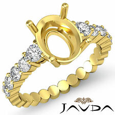 Diamond Engagement Oval Semi Mount Shared Prong Set Ring 18k Yellow Gold 0.70Ct