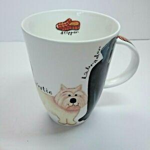 Roy Kirkham WALKIES WOOF COFFEE CUP MUG 2001 Made England Labrador, Collie