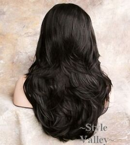 DARK BROWN 3/4 Fall Hair Piece Long layered Half wig Straight/Wavy  Hairpiece #4