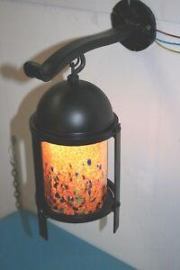 Handmade Wrought Iron Wall Bracket & Lantern With Handmade Blown Glass Shade