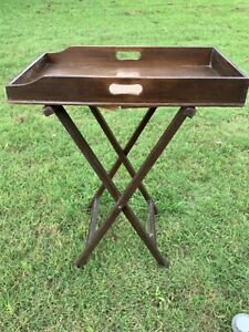 Antique Vtg wood wooden Folding Base Butlers serving Tray Table stand