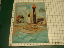 original watercolor: double sided, and collage, with water and buildings, people