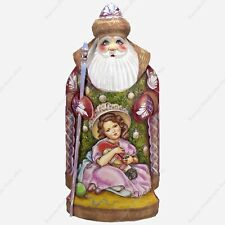 """11"""" SANTA CLAUS STATUE CHRISTMAS RUSSIAN HAND CARVED WOODEN FIGURE W MINIATURE"""