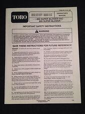 Toro Super Blower Vac Operators Manual Model 51575 51577 850 800 Instructions