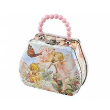 Girls Flower Fairy Magical Mystical Storage Tin Handbags With Pink Beaded Handle