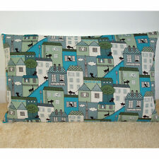 """20""""x12"""" Oblong Bolster Cushion Cover Black Cats Turquoise and Grey Townhouses"""