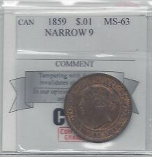 **1859 N9**, Coin Mart Graded Canadian, Large One Cent, **MS-63**