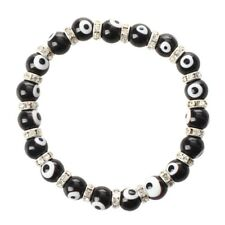Roundel Evil Eye Lampwork Glass Crystal Bracelet Black HOT C1I8 ZC