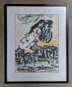 Marc Chagall Original Lithograph 'Place de La Concord' -  Lovers' Heaven