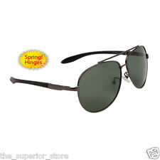 GunMetal Men's Polarized Sunglasses Driving Aviator Outdoor Green Lens- Mod 8094