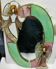 """Stained Glass Mirror with Angels 9047-J  8.5L x 12""""H"""
