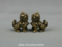 """1.3"""" Collect Chinese Bronze Fengshui Animal Foo Fu Dog Guardion Lion Statue Pair"""