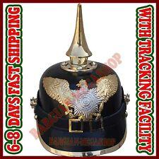 German Pickelhaube Prussian Leather Helmet Kaiser Hat WW1 WW2 Long Spiked Helm