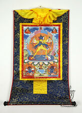 13Inch Tibetan Thangka Buddhist Kalachakra Vajra in Yab Yum Silk Brocade Printed