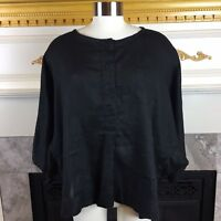 KADEEM SASSON Womans OS Black Oversized Linen Button Down Pocket Batwing Blouse