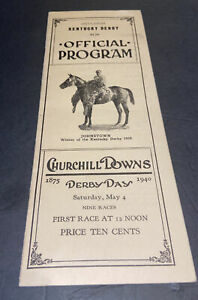 1940 UNMARKED KENTUCKY DERBY OFFICIAL CHURCHILL DOWNS RACE PRO~GALLAGADION~