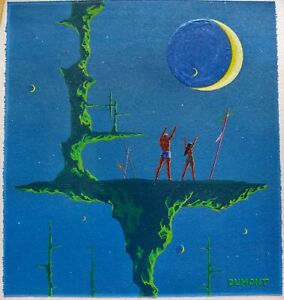 """Tim Dumont """"Rite"""" A 1961 Science Fiction Painting Acrylic On Board 13"""" X 12"""""""