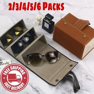 Multiple Leather Sunglass Organizer Travel Case Multiple Glass Storage Brand New