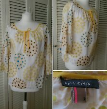 ORLA KIELY Loose Floaty Floral Print Cotton Smock Blouse Boho Hippy UK 8