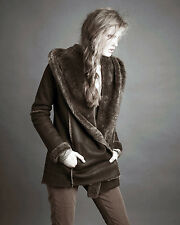 Small VINCE Shearling Fur Brown Leather Hooded Jacket Coat $2200