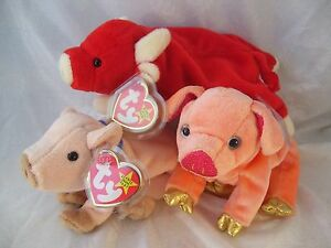 Ty Beanie Babies Baby Lot of 3 Knuckles, Pig Zodiac & Snort the Bull with Tags