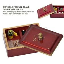 1:12 Miniature Vintage Sewing Box with Lid Winered Dollhouse Decor Accessories