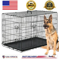 "Extra Large Dog Crate Kennel 48"" Folding Pet Cage Metal 2 Doors Tray Pan XL XXL"