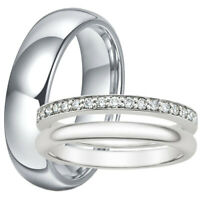 3 PC His and Hers Wedding Anniversary Band Ring Set Stainless Steel CZ Jewelry