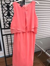 COVINGTON Missy Chiffon Twofer Overlay DRESS Size Small Apricot with Silver Belt