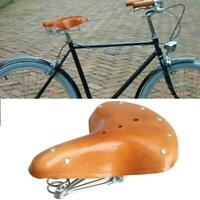 Retro Vintage Leather Bicycle Saddle Damping Classic Parts Seat Cycling G4L1