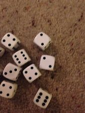 Batch Of 10 White Die. Suitable For Board Games Or Crafts.