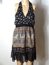 ORSAY Kleid Gr. 40 schwarz-beige Babydoll Neckholder Blümchen Mini Kleid/Tunika