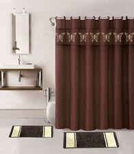1 SHOWER CURTAIN FABRIC HOOKS  BATHROOM SET BATH MATS BROWN COFFEE BUTTERFLIES