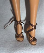 SHOES ~ MATTEL BARBIE DOLL MODEL MUSE AUDREY HEPBURN BROWN LACE UP SANDALS
