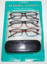 Reading Glasses +250 Contemporary Fashion 3 Pack - Free Shipping