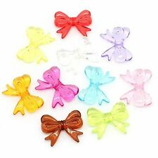 Acrylic Large Focal Bow Mixed 30x23mm Beads, 48 Pack (2mm Hole)