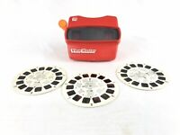 Vintage 3D VIEW-MASTER Red/Orange + 3 Reels Mickey Mouse and Friends Adventures