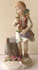 """Pavilion Gifts CAPODIMONTE FIGURINE """"Girl with Turkey"""" 5.75"""" Tall"""